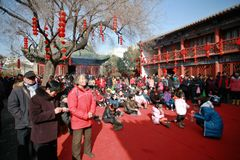 Visit the temple fair in Town God& x27;s Temple, Zhengzhou royalty free stock photos
