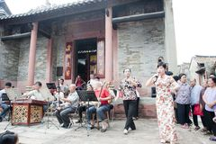 The Temple Fair in chinese village stock photography