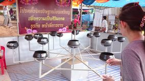 Temple fair of suphanburi province, thailand in 2015 stock video