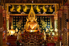 Temple. Faith gaze  the Buddha in the temple Royalty Free Stock Photography
