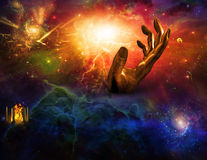 Temple of fire Hand of time. Intergalactic scene with temple fire, hand of god and passing of time Royalty Free Stock Image