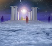 Temple of fire. In spiritually based composition. Eye of God. Priests or monks. Human elements were created with 3D software and are not from any actual human stock illustration