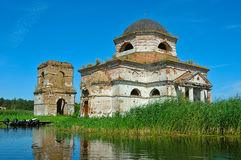 Temple of the flooded settlement Royalty Free Stock Photography