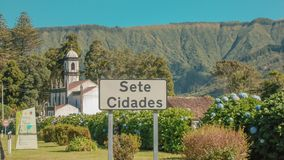 Temple among flowers on the Azores Islands. Portugal stock photo