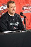 Temple football coach Mark D'Onofrio. PHILADELPHIA - OCTOBER 30: Temple University defensive coordinator Mark D'Onofrio addresses the media after Temple's 30-0 royalty free stock image