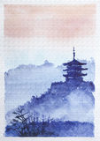 Temple, forest and dawn. Traditional asian watercolor Royalty Free Stock Photos