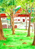 Temple in forest watercolor painted. Temple in forest watercolor on paper Royalty Free Stock Image
