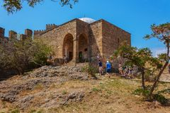 Temple with an arch in the fortress of Crimea stock image