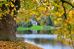 Temple Framed by Autumn Leaves, Stourhead Garden, Wilthsire Royalty Free Stock Photos