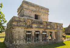 Temple of the Frescos in archaeological site Tulum, Mexico. Ancient mayan temple with columnes Royalty Free Stock Image