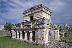 Temple of the Frescos at Tulum. Photo taken from the southwestern corner of the Temple of the Frescos in Tulum, Mexico showing the columns at the entrance and royalty free stock images