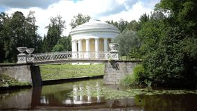The temple of Friendship the rotunda pavilion of Pavlovsk Park stylized under antiquity. It is built in a bend of the. Slavyanka River stock footage