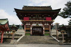 Temple at Fushimi Inari. This building is the entrance for the Fushimi Inari Shrine, Kyoto, Japan. This is very important Shinto shrine and is very popular in royalty free stock photography