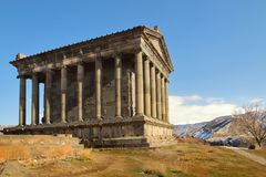 The Temple of Garni in winter, Armenia. The Temple of Garni is the only standing Greco-Roman colonnaded building in Armenia and the former Soviet Union. An Ionic Stock Photos