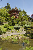 Temple Gate from distance. Temple Gate, located near the pagoda, The Japanese Tea Garden in Golden Gate Park is the type of Japanese garden known as a wet royalty free stock photos