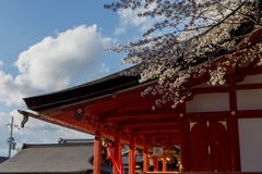 Temple Gate in Kyoto in the spring in sunny weather. April stock photo