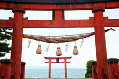 Temple Gate on the Lake Biwa Stock Photography