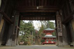 Temple gate and pagoda of Jison-in temple. In Wakayama, Japan royalty free stock photos
