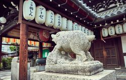 Temple at Gion, old district in Kyoto, Japan royalty free stock images