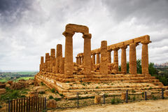 Temple of Giunone - Sicily. Extraordinary greek temple in the Valley of the Temples in Agrigento - Sicily Royalty Free Stock Photos