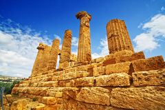 Temple of Giunone - Sicily. Extraordinary greek temple in the Valley of the Temples in Agrigento - Sicily Royalty Free Stock Image