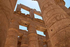 The temple of the god Amon Ra. Luxor. Columned hall of the temple of the god Amon Ra at Luxor Stock Photo