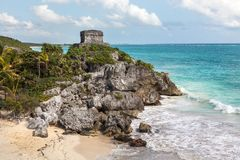 Temple of the God of Wind in the Tulum in Mexico Stock Image