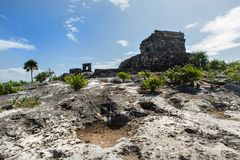 Temple of the God of Wind in the Tulum in Mexico Stock Photography