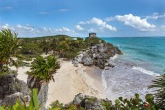 Temple of the God of Wind in the Tulum in Mexico Royalty Free Stock Image