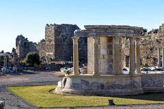 Temple of the goddess of chance Tyche, Side, Turkey Royalty Free Stock Images