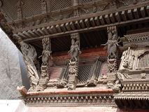 Temple of goddess Kumari. Carved roof Royalty Free Stock Photo