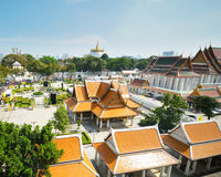 The temple with gold pagoda Stock Photography