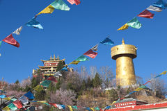 Temple and Golden bell in Shangri la Royalty Free Stock Images