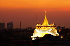 Temple. Golden-mountain Thailand landscape sunset Royalty Free Stock Image