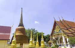Temple with golden pagodas royalty free stock photos