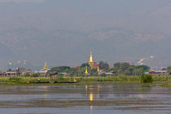 Temple with Golden Stupa on Inle Lake, Myanmar Royalty Free Stock Images