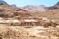 Temple grand, ville antique de PETRA, Jordanie Photographie stock libre de droits