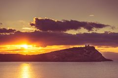 Temple grec de Poseidon au lever de soleil, cap Sounio Photos stock