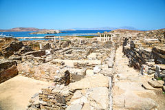 Temple  in   greece the historycal   old ruin site. In delos greece the historycal acropolis and    old ruin site Stock Photography