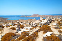 Temple  in   greece the historycal   site. In delos greece the historycal acropolis and    old ruin site Royalty Free Stock Photos