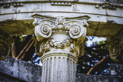 Temple, Greek-style columns, Corinthian capitals in a park Royalty Free Stock Image