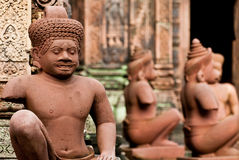Temple Guardians in Banteay Srey Royalty Free Stock Image