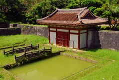 Temple building, bridge and pond Stock Image