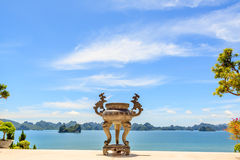 Temple at Ha long bay Stock Photography