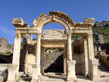 Temple of hadrian. Ephesus which was established as a port, was used to be the most important commercial centre. It played a great role in the ancient times with Stock Photography
