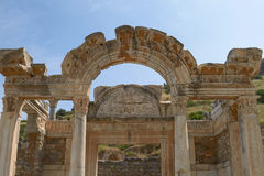 The Temple of Hadrian in Ancient City of Ephesus in Turkey Stock Photos