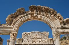 Temple of Hadrian, Ephesus, Turkey. One of the best preserved structures on Curetes Street, Ephesus Royalty Free Stock Images