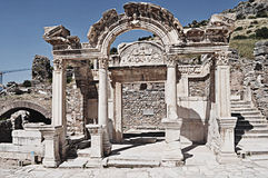 Temple of Hadrian, Ephesus, Turkey. Remains of the ancient temple of Hadrian in Ephesus, İzmir (Smyrna), Turkey Stock Images