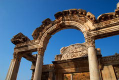 Temple of Hadrian, Ephesus, Turkey. The Temple of Hadrian, Ephesus, Turkey. Hadrian was a Roman Emperor who ruled AD 117-138 Royalty Free Stock Image