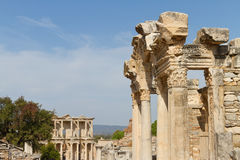 Temple of Hadrian and Library of Celsus Royalty Free Stock Photo